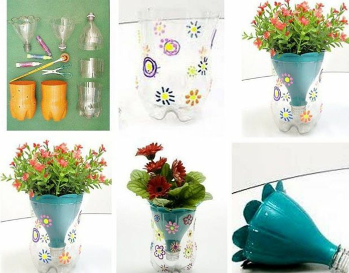 blumentöpfe bemalen töpfe aus plastik flaschen interessantes design ideen mit blumen gestaltung blau design