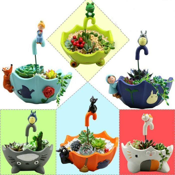 terracotta töpfe bemalen design für blumentöpfe ideen schirmförmiger topf bunte grau orange blau grün