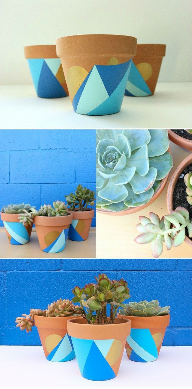 blumentöpfe verschönern ideen in blau und gelb grüne pflanzen selber anpflanzen einfache töpfe dekorieren
