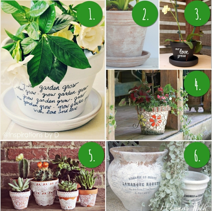 blumentöpfe verschönern durch schrift dekoration blumendeko alte töpfe neu gestalten ideen grün pflanze