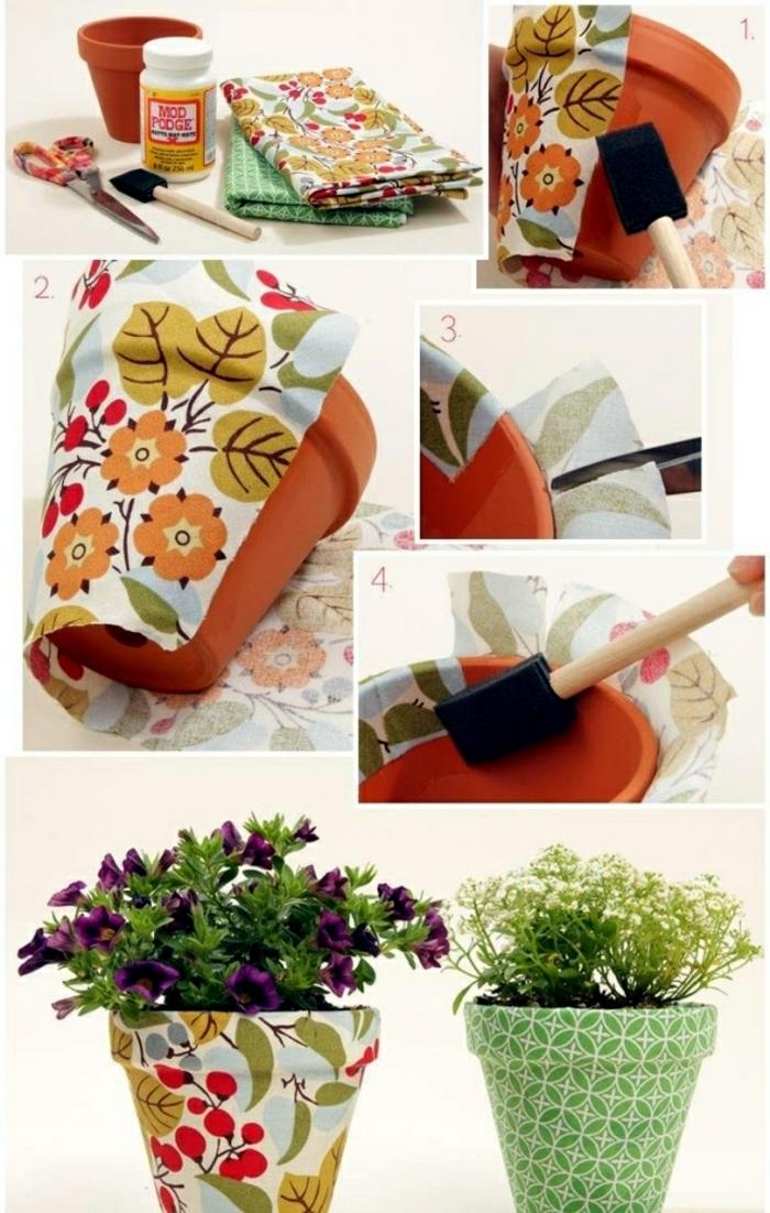 terracotta töpfe bemalen kleber und stoff verwenden zum verschönern des blumentopfes ideen blume design
