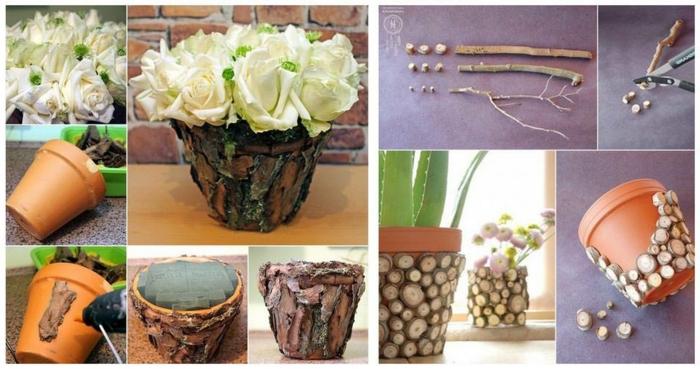 terracotta töpfe bemalen dekoration für den topf aus holz natürliche materialien für den topf verwenden