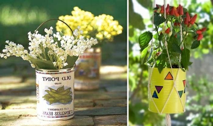 terracotta töpfe bemalen dose blumentopf design ideen weiße blumen gelbe dosen mit dreieck dekorationen