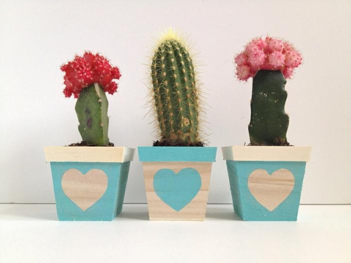blumentöpfe balkon quadratische gestaltungsideen blumentopf design herzen malen auf hölzernen töpfen kaktus