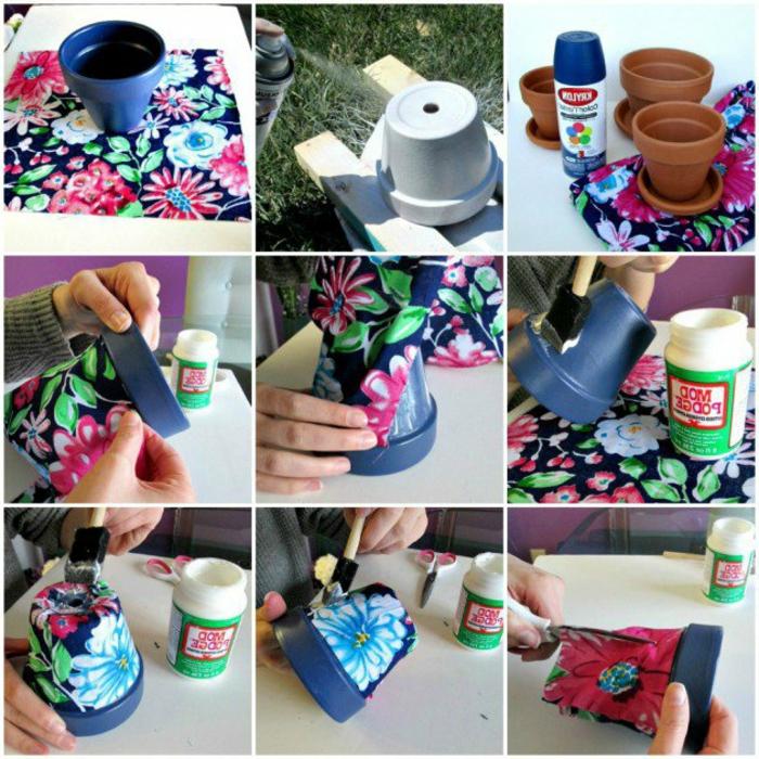 blumentopf keramik blumentöpfe in stoff verkleiden oder selber bemalen ideen einmalig schön elegant