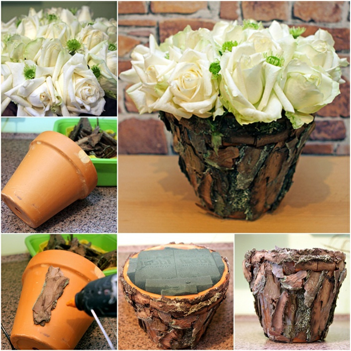 blumentopf keramik hölzerne verkleidung für schöne blumentopf designs weiße blumen rosen hölzerne dekoration