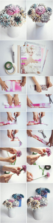 diy blumen aus zeitschriftspapier selber machen, weiße vase
