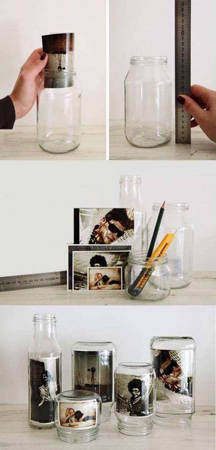 einmachgläser dekorieren, schwarz-weiße fotos, cutter, lineal, bleistift