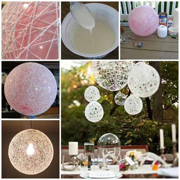diy lampenschirme aus weißem garn, ball, gartendeko, tisch