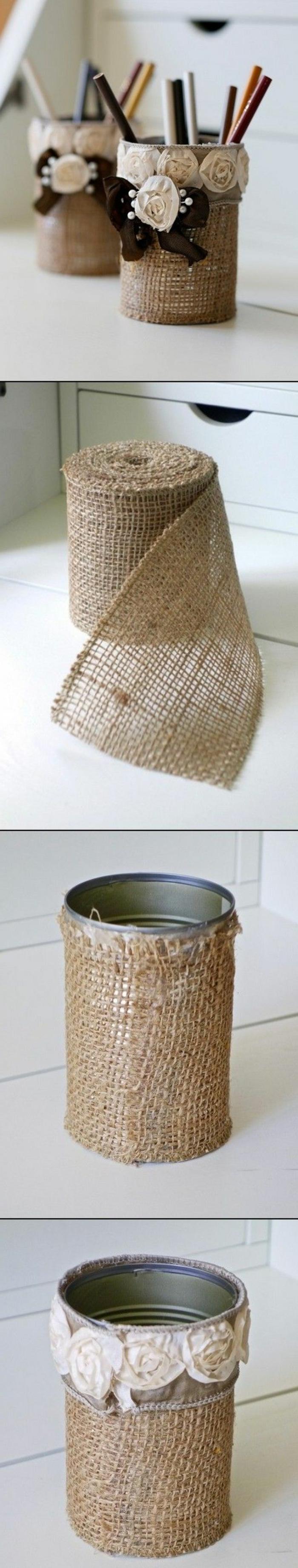 stiftenhalter selber machen aus konservendosen, bleistifte, leinenband, rosen