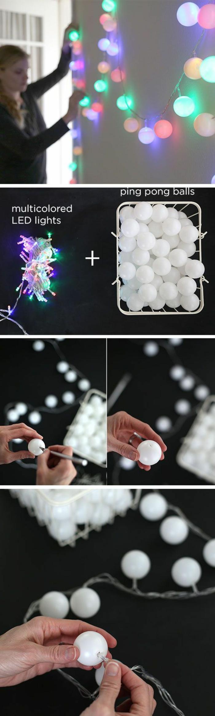 wanddeko selber machen, lampen, kleine weiße bälle aus plastik