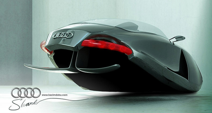 fliegende autos - das konzept des designers kazim doku für ein graues, fliegendes auto