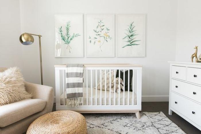 kinderzimmer getaltung dezentes design interieur gestaltung im babyzimmer skandinavischer stil weiß grün beige