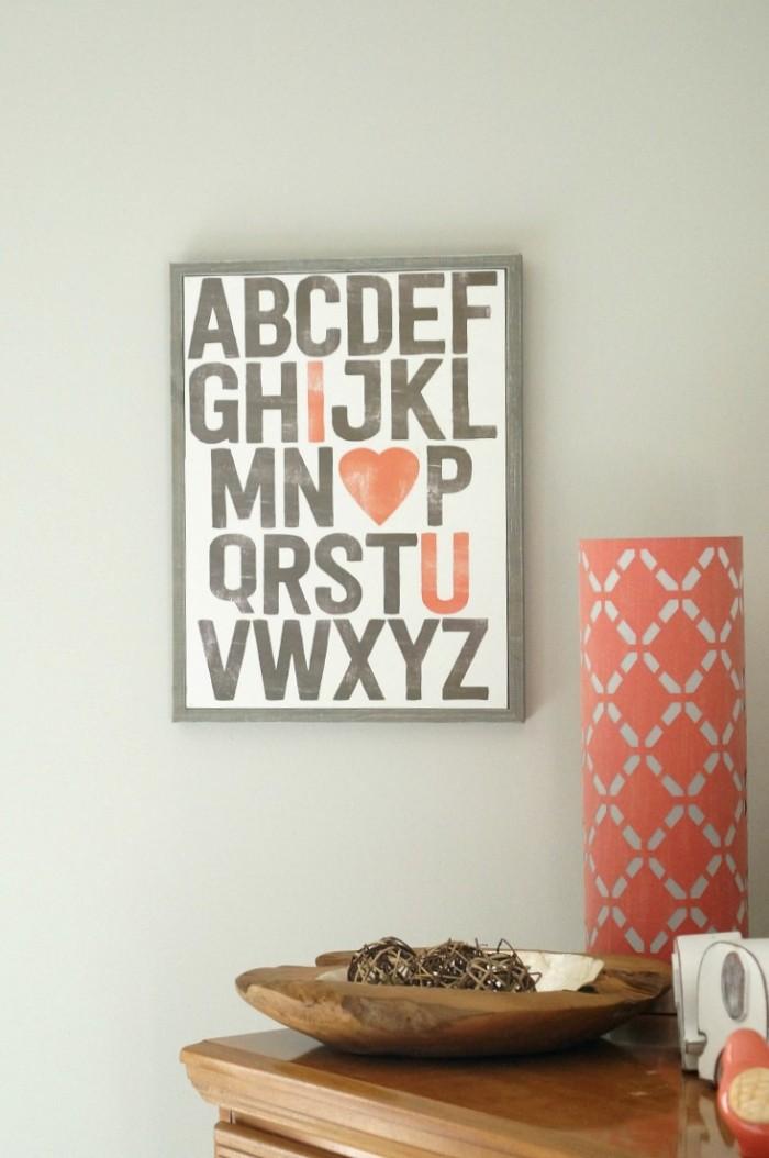 babyzimmer junge, wanddeko ideen wie das baby das alphabet lernen wird, herzchen am bild