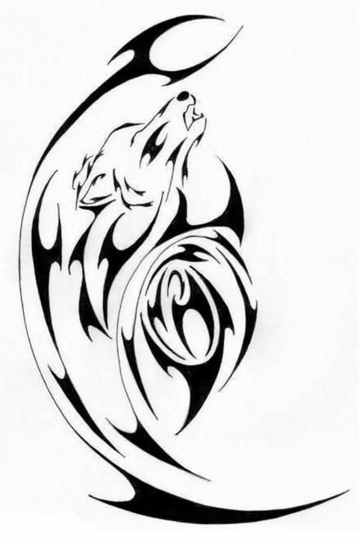 tribal wolf tattoo - ein schwarzer heulender wolf