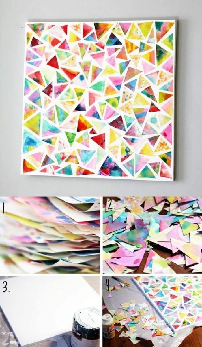 wanddeko selber machen, bunte dreiecke, bild mit geometrischen figuren