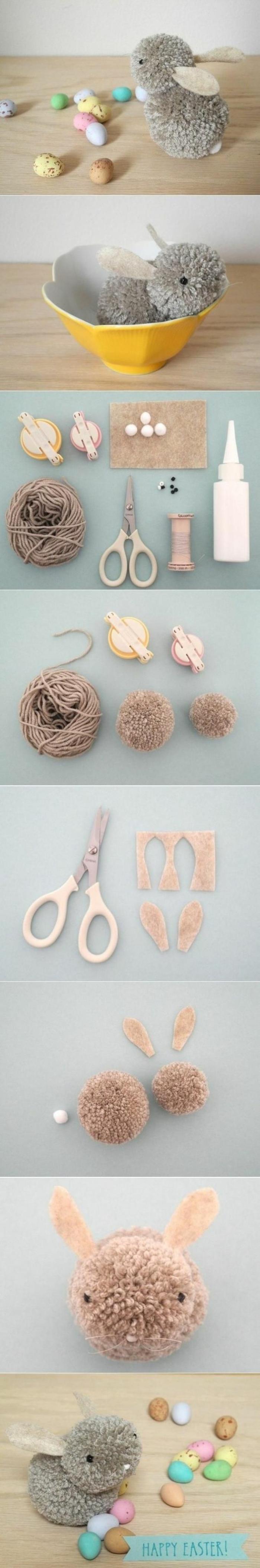 kuscheltier selber machen, grauer hase aus garn, schüssel, troddel