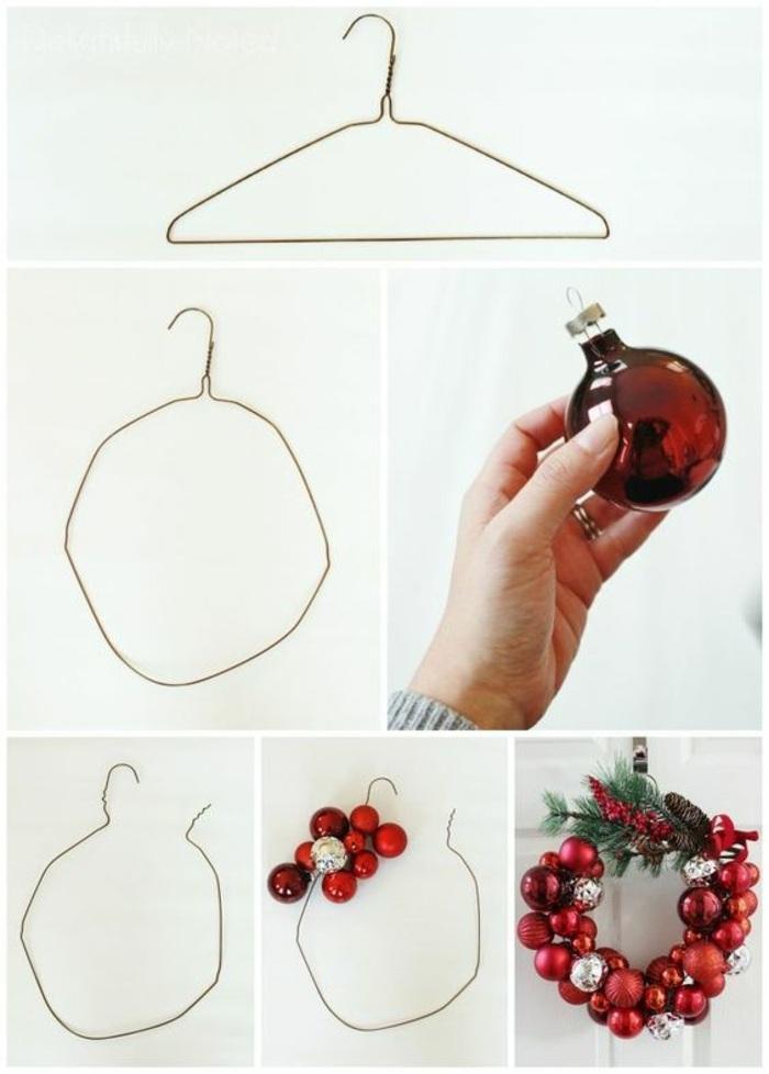 kleiderhaken aus draht, rote weihnachtskugeln, türdeko, kranz, weihnachtskranz