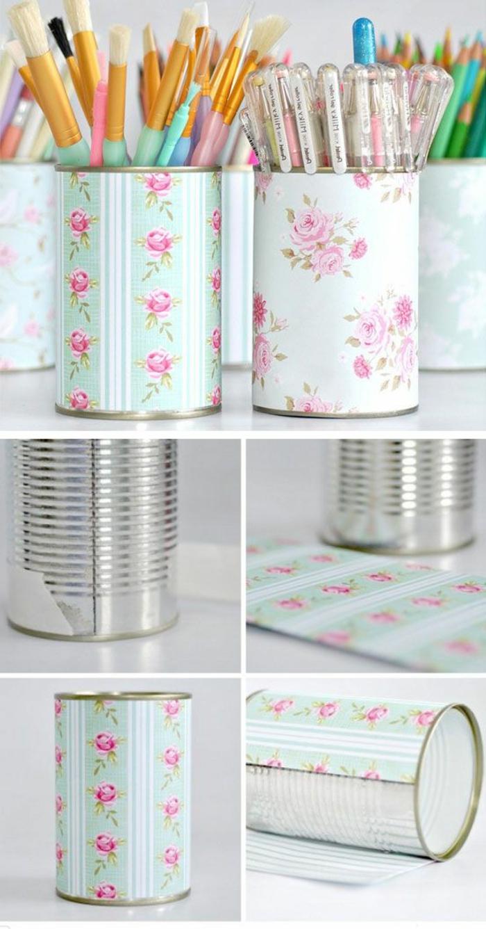 stiftenhalter aus konservendosen dekoriert mit blauem papier mit rosen
