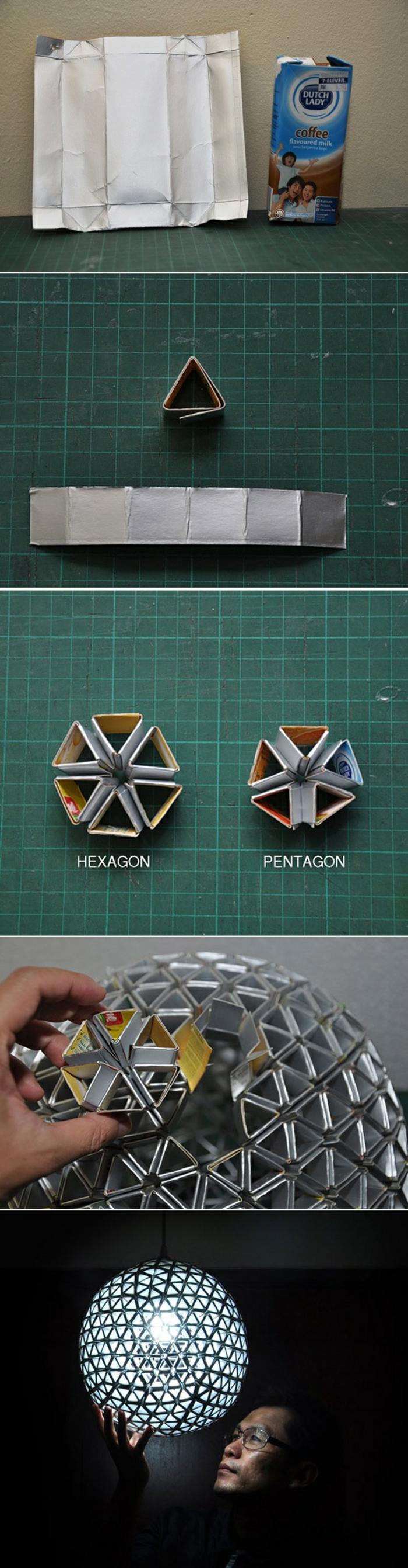 diy bastelideen, runden lampenschirm aus papier selber machen