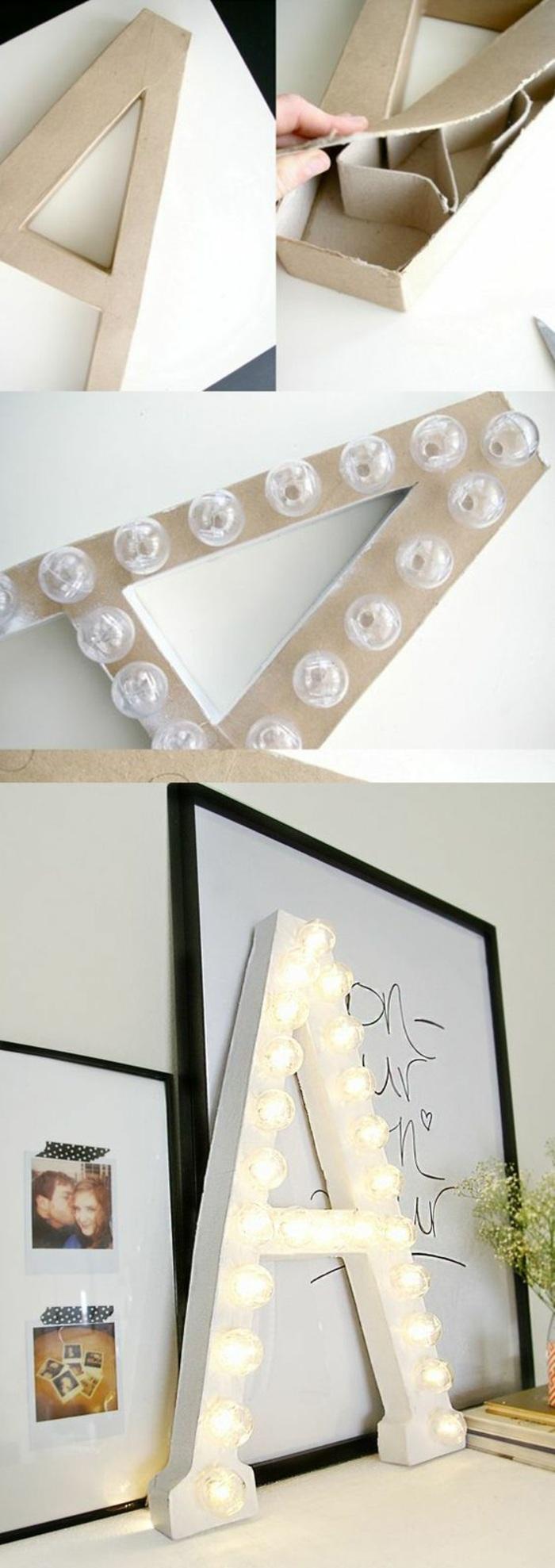 wanddeko, großer papp-buchstabe, glühbirnen, lampe, bilder