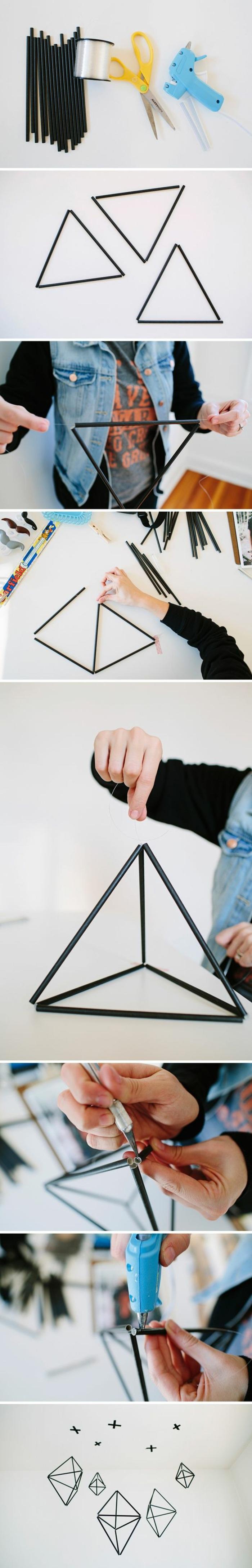 coole bastelideen - hängende geometrische figuren aus schwarzen röhren und angelleine