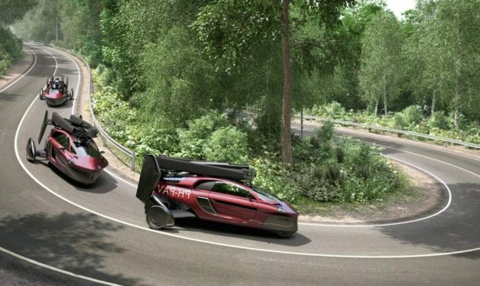 hier zeigen wir ihnen drei rote fluegende autos mit schwarzen propellern