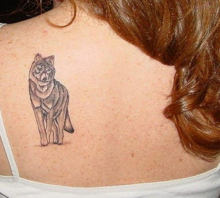 idee für einen tattoo mit einem grauen wolf, die der frauen sehr gut gefallen könnte