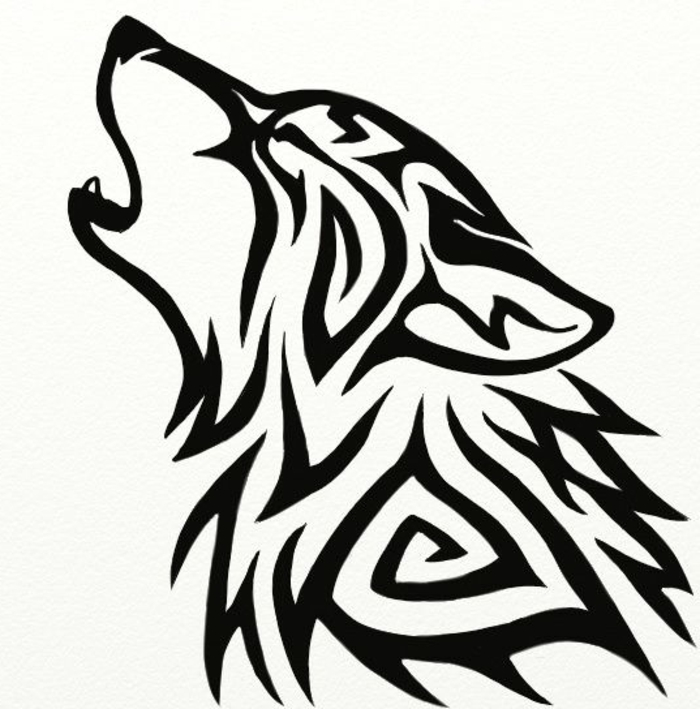 noch ein schön aussehender schwarzer wolf tattoo - wolf tribal, ein heulender wolf