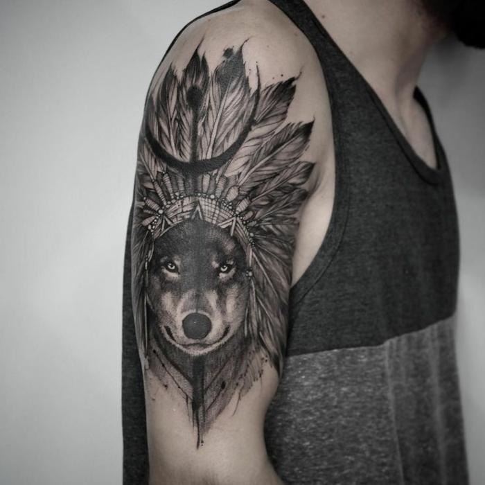 toller wolf tattoo für männer - ein schwarzer wolf mit warbonnet