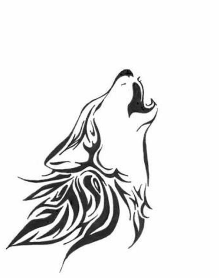 wolf tribal - eineganz tolle idee für einen schönen wolf tattoo, der ihnen sehr gut gefallen kann - ein heulender wolf