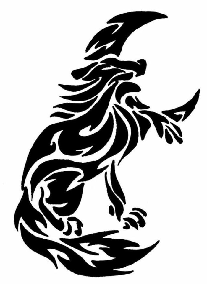 der schwarze mond und der heulende wolf - wolf tribal - idee für einen wolf tattoo