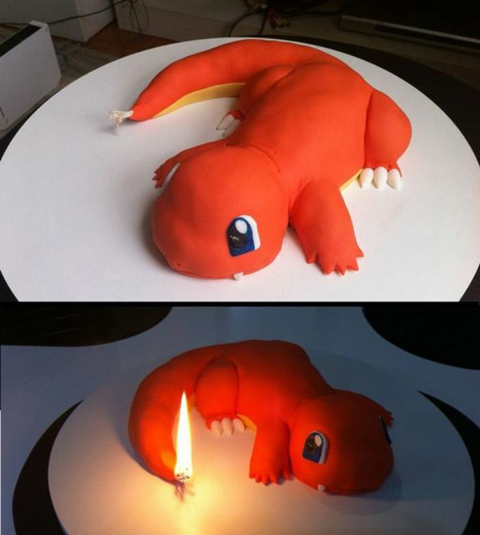 drachen pokemon. dragon pokemon . eine idee für eine pokemon torte mit einem brennenden schwanz und kerzen
