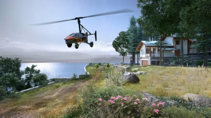 ein rotes fliegendes flugauto mit schwarzen propellern, ein weißes haus, grüne bäume. blumen und see