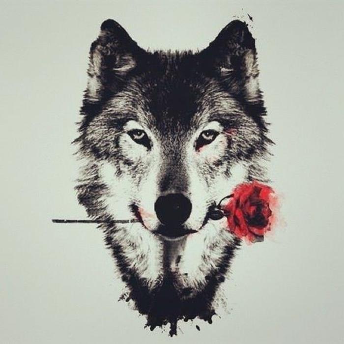 hier zeigen wir ihnen noch eine idee für einen wolf tattoo, wolf tribal - ein wolf mit einer roten rose