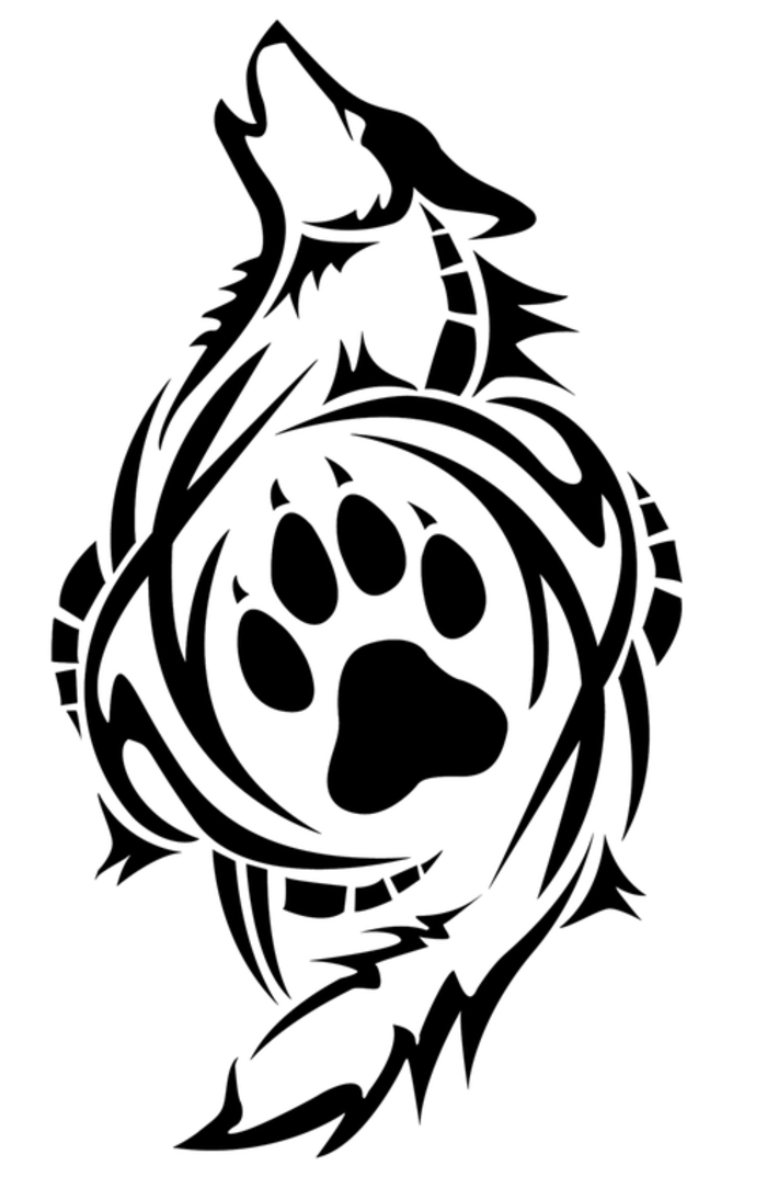 tribal wolf tattoo - hier ist ein schwarter heulender wolf und seine pfote
