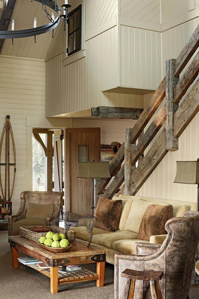 Einfache Dekoration Und Mobel Design Im Treppenhaus #24: Landhausstil Treppenhaus Dekorieren Mit Brüstung Aus Holz