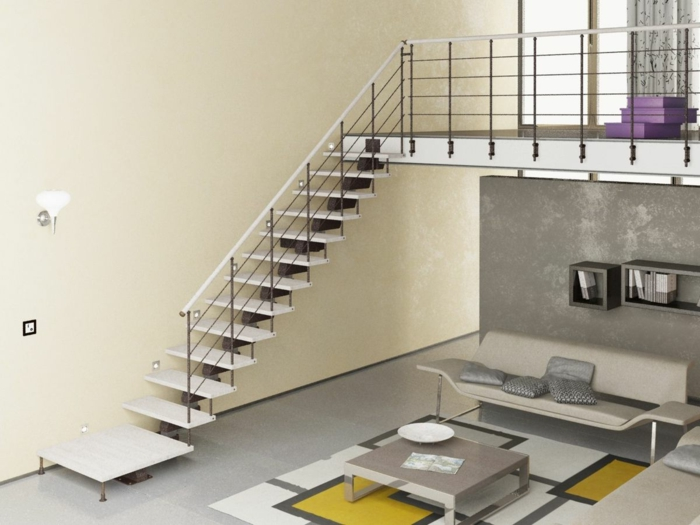 mit gelben Tapeten in Treppenhaus dekorieren, schlichtes Design von Möbel