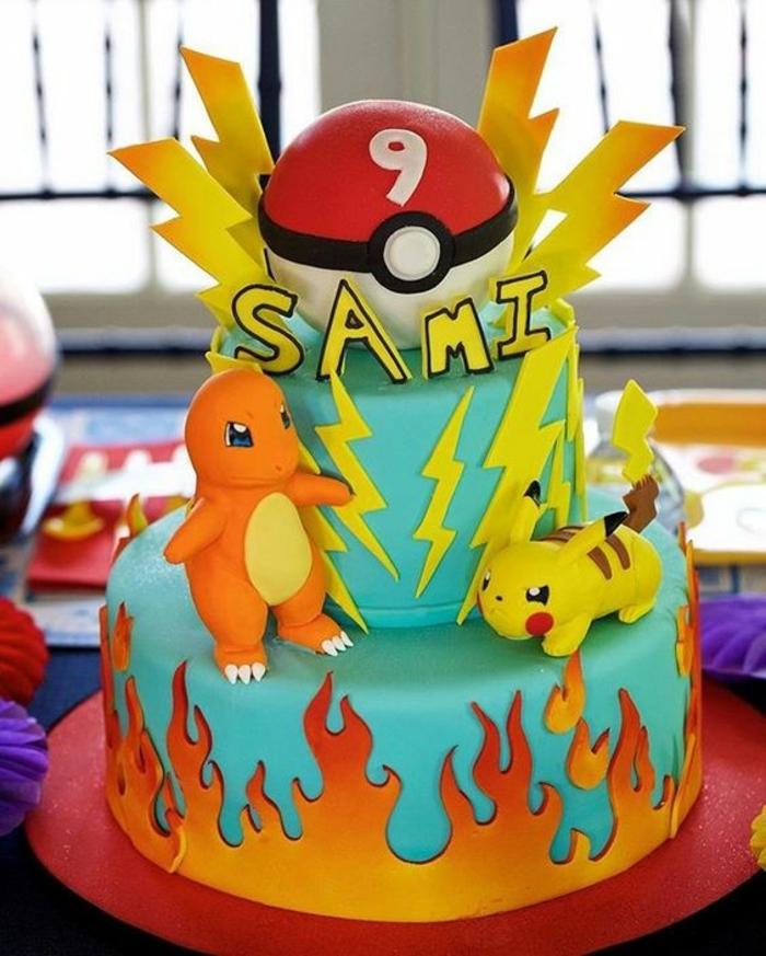 roter pokeball, gelbe blitze, drachen pokemon, dragon pokemon, ein gelbes pokemon wesen pikachu, feuer, zweistöckige pokemon torte
