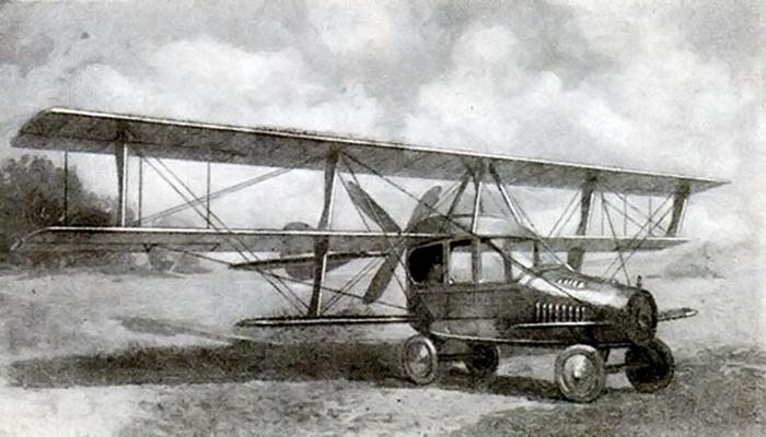 ein beispiel für fliegende autos - das ist das erste flugauto von glenn curtiss - mit großen luftschrauben und tragflächen