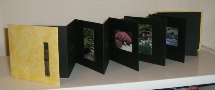 gelber Umschlag, schwarzer Hintergrund, Fotos aus der Natur - Leporello basteln