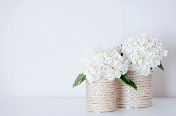 blumentöpfe selber machen, vase, konservendose, seil, blumen