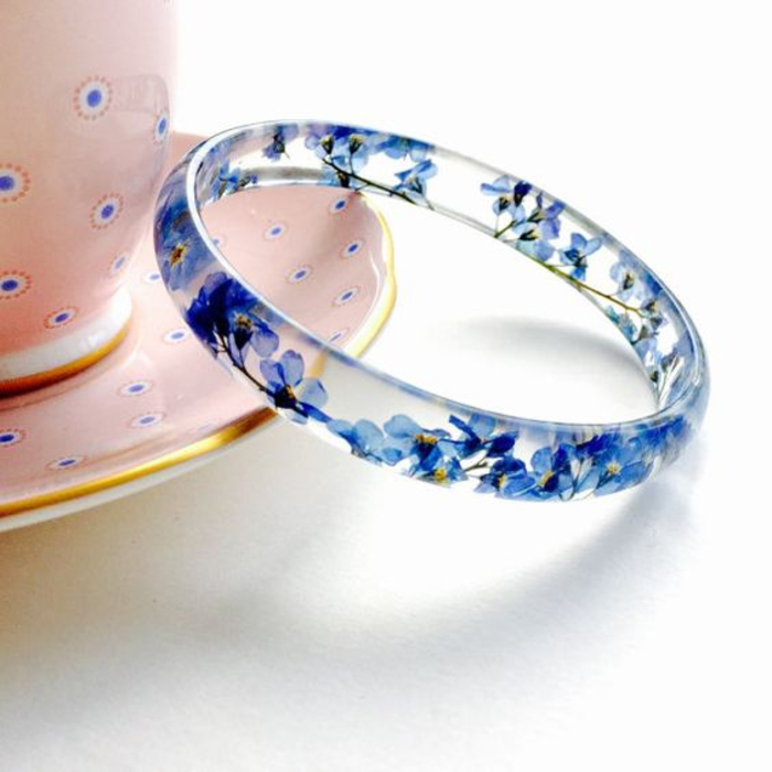 geschenk fuer frau, armband, vergissmeinnicht, blau