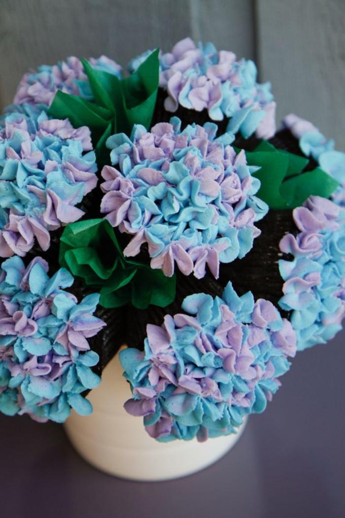 abschiedsgeschenk, hortensien aus zucker, blumenstauss, blau