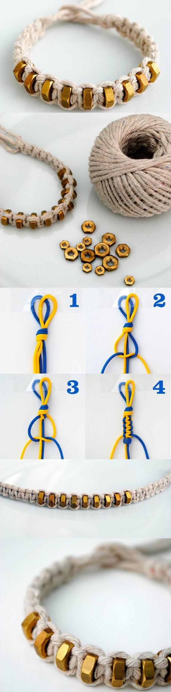 coole bastelideen, armband aus leinenschnur dekoriert mit goldenen elementen