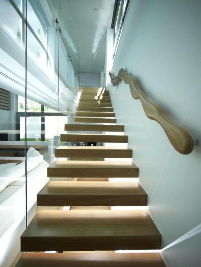 Glaswand, Treppen, als ob schweben würden Geländer mit interessanter Form - Treppenhaus Ideen