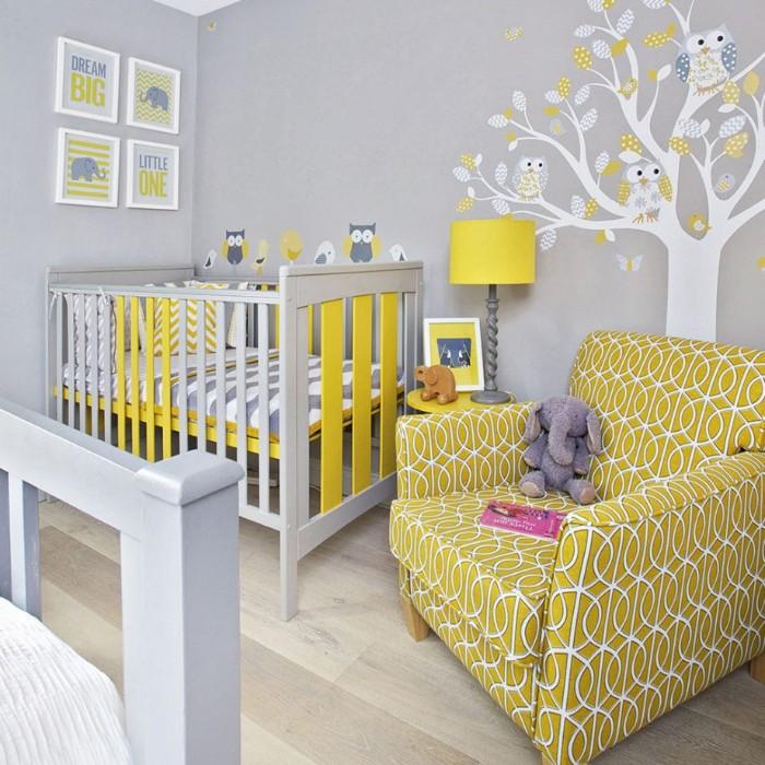 babyzimmer komplett set mit sessel, babybett, stehlampe und wandtapete und dekoration für das zimmer ihres babys
