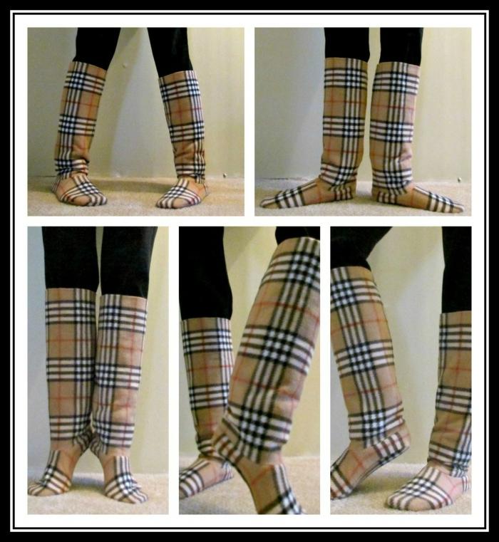 aus alter Strumpfhose Schuhe nähen wie Stiefel zum tanzen zu Hause