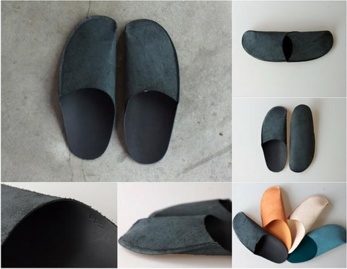 einfache Schuhe nähen - schwarze Schuhe aus zwei Teile, in verschiedene Farben möglich