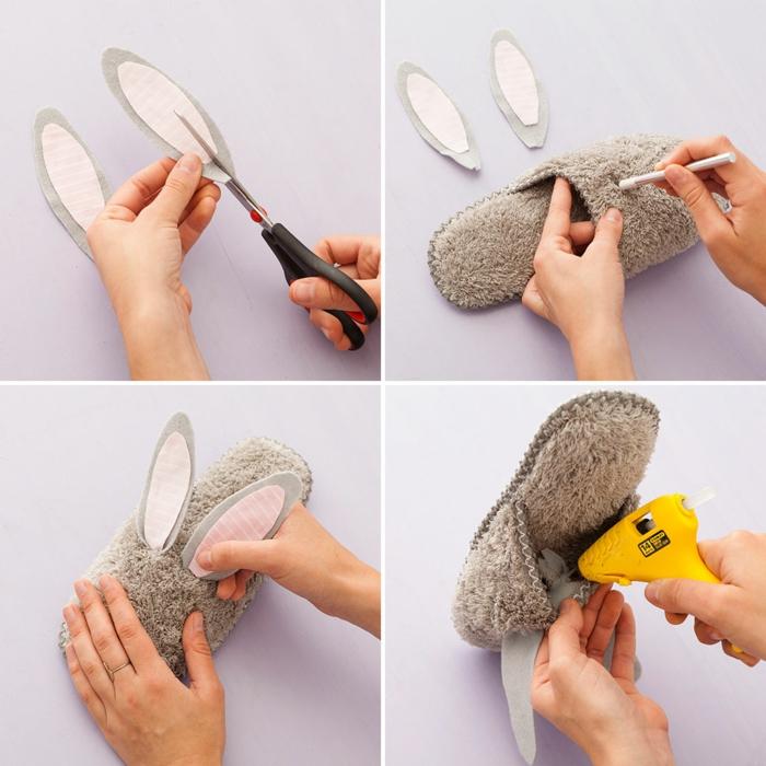 Hausschuhe selber nähen und mit zwei Ohren bekleben wie Kaninnchen auszusehen